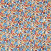 Blue/Orange/Red Floral Printed Combed Cotton Voile