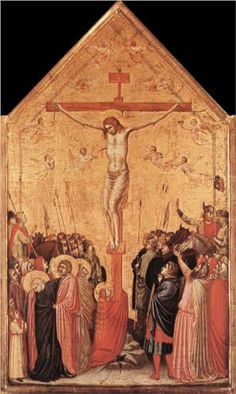 Giotto di Bondone, The Crucifixion, tempera on wood, 58 x 33 cm / © bpk / Gemäldegalerie, SMB / Jörg P. Italian Renaissance, Renaissance Art, Tempera, Siena, Italian Paintings, Art Gallery, Late Middle Ages, Museum, Art Database