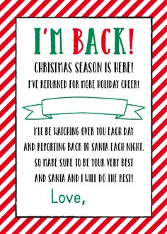 "Elf on the Shelf Letter - - Personalize this ""I'm Back!"" Elf letter with your child's or children's name(s) and elf's name to welcome this Christmas tradition in style. Features a festive red and green color scheme. Elf On Shelf Letter, Elf Letters, Shelf Elf, Letter From Elf, Album Design, Elf Movie Quotes, Elf Names, Welcome Letters, Pixies"