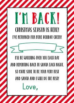 "{ FREE } Printable ""I'm Back"" Elf on the Shelf Letter | 5 x 7 Size - Plush Paper Design"