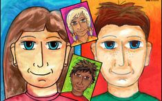 Simple Portrait art lesson by Easy Peasy Art School. Great for back to school art lessons and to help your students feel right at home in their new classroom.