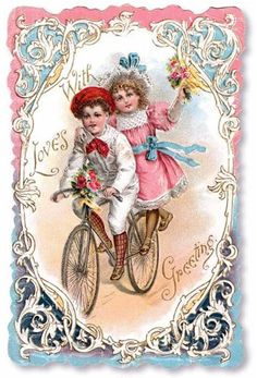 With Love's Greeting - vintage card