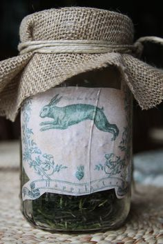 Easter printables, decoupaged onto ball jars, covered with burlap. Somebunny Loves You, Jar Art, About Easter, Ball Mason Jars, Shabby Chic Baby Shower, Easter Printables, Easter Celebration, Vintage Easter, Bottles And Jars