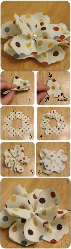 Faça Você Mesmo - Flor simples com tecido de bolinha