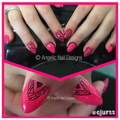 Hi everyone 😁 going to be making a few people happy here... I am opening up my appointment book for 4 new clients!!!   If you would like to secure one of these spots please get in contact with me ASAP, they won't last long!  New nails for Sunday afternoon 💕 Hot Pink and a little bit Tribal. Artistic Nail Design's Rock Hard Liquid and Powder Enhancements with Artistic Colour Gloss in #Manic and #Swag tribal like designs. Artistic Colour Gloss, Hot Pink, Nail Designs, Powder, Swag, Sunday, Rock, Nails, Happy