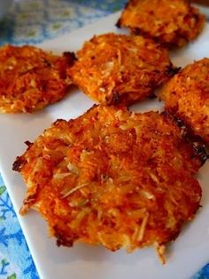 Sweet Potatoe Patties - 2 sweet potatoes, 1/2 cup liquid egg whites, 1 cup Parmesan cheese, 1/2 teaspoon rosemary, 1/4 teaspoon pepper