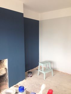 Farrow and Ball blackened and stiffkey blue - starting to look good :-)