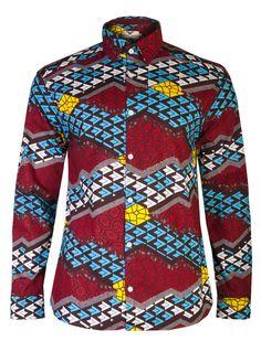 Tetris print shirt - OHEMA OHENE AFRICAN INSPIRED FASHION  - 1
