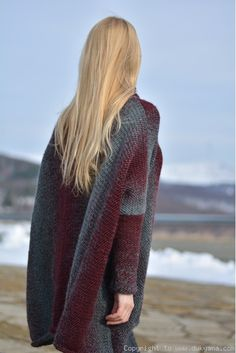 Handmade wool blend poncho in dark red mix by Dukyana.Hand knitted soft woolen poncho.