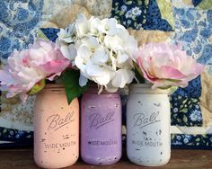 Hand Painted wedding mason jar centerpiece - Rustic, Vintage, Garden, Woodland, Barn themed weddings {we can paint our own! Wedding Themes, Our Wedding, Dream Wedding, Wedding Decorations, Themed Weddings, Wedding Ideas, Purple Mason Jars, Painted Mason Jars, Vintage Graduation Party