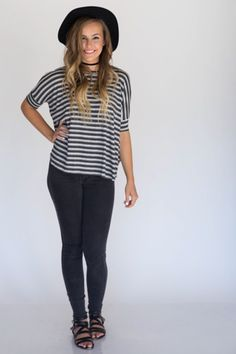 Black and white striped boxy tee from Agnes and Dora. https://www.facebook.com/agnesanddoraanne/