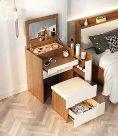 Room Design Bedroom, Room Ideas Bedroom, Home Room Design, Home Decor Bedroom, House Design, Small Space Bedroom, Tiny House Furniture, Space Saving Furniture, Home Furniture