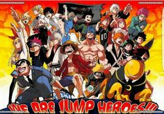 We are Jump heroes!!!, text, anime characters, crossover; Anime