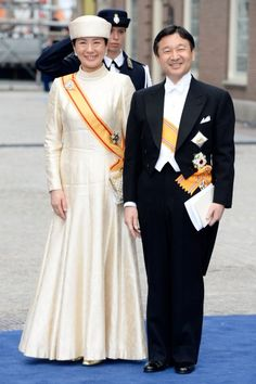 Crown Prince Naruhito and Crown Princess Masako of Japan attend the Investiture of King Willem-Alexander.