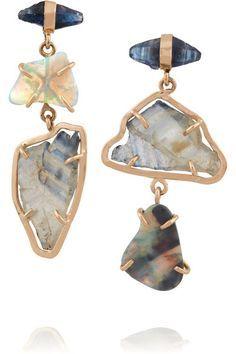 Melissa Joy Manning | 14-karat gold sapphire and opal earrings | NET-A-PORTER.COM