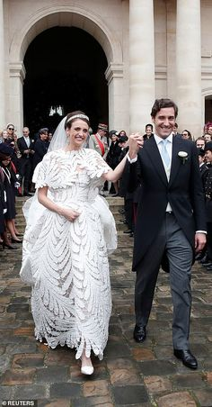 The couple leave the Parisian cathedral after their glamorous wedding. Guests included Princess Beatrice and her fiancé property tycoon Edoardo Mapelli Mozzi Royal Wedding Gowns, Royal Weddings, Wedding Bridesmaid Dresses, Bridal Dresses, Celebrity Wedding Photos, Celebrity Weddings, Glamorous Wedding, Chic Wedding, Tent Wedding