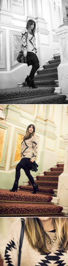 street style / geometric print pullover / liceu barcelona  bárbara crespo  http://www.elblogdebarbaracrespo.com/