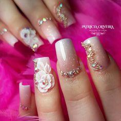 3d Nails, Nail Manicure, Pink Nails, 3d Nail Designs, Acrylic Nail Designs, Gorgeous Nails, Pretty Nails, Acrylic Nail Tips, Bridal Nail Art