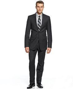 Calvin Klein X Suit, Peak Lapel Charcoal Flannel Slim Fit - Mens Suits & Suit Separates - Macy's