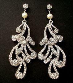 Rhinestone Bridal Earrings Ivory Swarovski Pearl by DivineJewel, $44.00