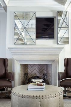 Hidden Tv Above Fireplace Doubtful 1500 Trend Home Design Decorating Ideas 36 Shabby Chic Living Room, Living Room Tv, Living Room Furniture, Furniture Stores, Tv On Wall Ideas Living Room, Furniture Nyc, Cheap Furniture, Furniture Ideas, Hide Tv Over Fireplace