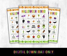 Halloween Bingo Halloween Games Halloween Bingo Printable | Etsy Halloween Bingo, Halloween Activities For Kids, Halloween Printable, Suckers Candy, Printable Bingo Games, Valentine Bingo, Bingo Sheets, Cat Candle, Christmas Bingo