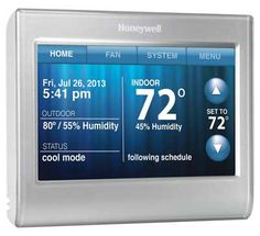 Honeywell Wi-Fi Smart Silver Thermostat with Wi-Fi Compatibility at Lowe's. The Wi-Fi smart thermostat is ideally suited for the connected home and today's smartphone. It's packed with smart features, a customizable Home Automation System, Smart Home Automation, House Fan, Home Tech, Thing 1, Heating And Cooling, Save Energy, Just In Case, Wifi