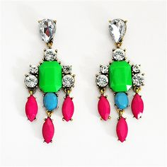 Color Mix Drop Earrings - crystal chandelier earrings with pink droplets by Shamelessly Sparkly