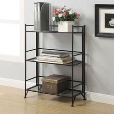 Convenience Concepts XTRA Storage 3 Tier Wide Folding Shelf in Black