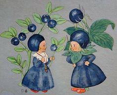 Airelle bleue (ou des marais) et myrtille (Fr), Blueberry and Bilberry (GB), Moorbeere und Heidelbeere (D), Vaccinium uliginosum et Vaccinium Myrtillus (L) - Ida Bohatta