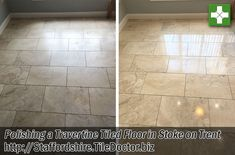 The pictures below are from a Travertine tiled Kitchen floor I was asked to clean recently at a house in Stoke on Trent. The floor was laid about five years ago and always had a matt appearance and never had a shine at all. I went over to look at the floor and was able to use a spare tile they had to show them how shiny I could get the stone. They were really impressed with the result and could now see the potential of their floor, so they booked me in straight away.
