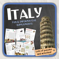 Italy (country study) from Thematic Worksheets on TeachersNotebook.com -  (19 pages)  - Let's get to know Italy!