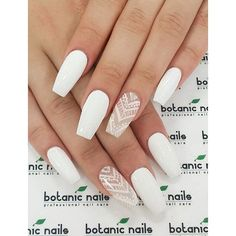 50 White Nail Art Ideas ❤ liked on Polyvore featuring beauty products, nail care and nail treatments