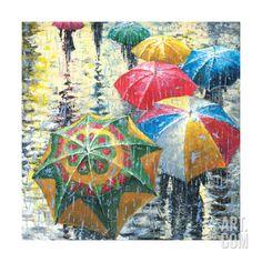 Velvet Rain by Stanislav Sidorov Umbrella Painting, Rain Painting, Umbrella Art, Painting Canvas, Canvas Art, Velvet Rain, I Love Rain, Rain Art, Fine Art Prints