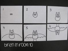 Bat Directed Drawing Tutorial and labeling activity