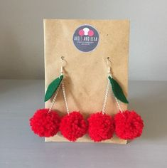 Your place to buy and sell all things handmade Diy Yarn Earrings, Funky Earrings, Cute Jewelry, Jewelry Crafts, Pom Pom Crafts, Etsy Business, Diy Jewelry Making, Festival Jewellery, Handcrafted Jewelry