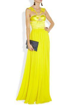 Prabal Gurung Neon mesh-trimmed silk-chiffon and satin gown NET-A-PORTER.COM