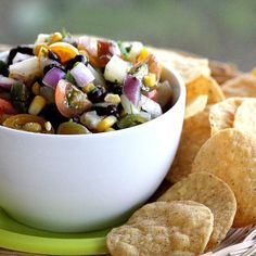 """Serve with crisped low-fat, whole grain or sprouted tortillas broken into """"chips"""" >>black bean salsa"""