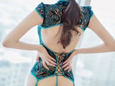 Peacock lace china bustier set - NUDE N' RUDE WEB STORE