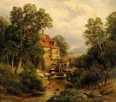 Friedrich August Kessler - The Watermill Great Paintings, Nature Paintings, Landscape Art, Landscape Paintings, Europa Art, Dream Pictures, Oil Pastel Drawings, Cottage Art, Puzzle Art