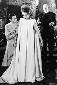 Bride of Frankenstein [1935] directed by James Whale, starring Boris Karloff, Colin Clive, Valerie Hobson, Elsa Lanchester, Ernest Thesiger, Dwight Frye, O.P. Heggie, and Una O'Connor.                                                                                                                                                     More