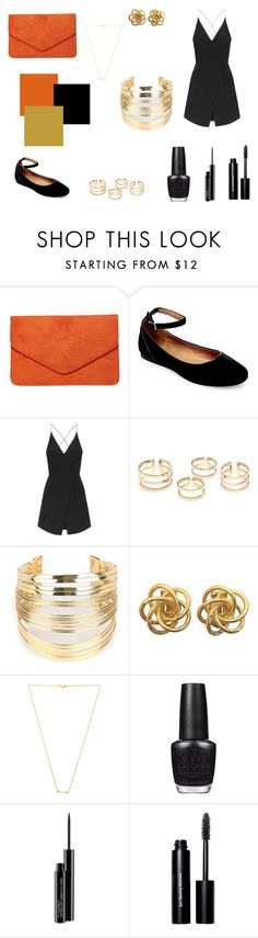 """""""Feeling Bright Orange&Black"""" by ladylikesjewelry ❤ liked on Polyvore featuring Dorothy Perkins, Steve Madden, Topshop, WithChic, Wanderlust + Co, OPI, MAC Cosmetics, Bobbi Brown Cosmetics, gold and black"""