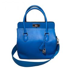 Hermes 26cm Toolbox Bag Hydra Blue Swift Calf Leather Rare Color | From a collection of rare vintage top handle bags at https://www.1stdibs.com/fashion/handbags-purses-bags/top-handle-bags/