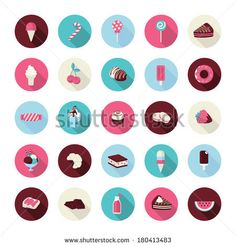 Set of flat design dessert icons. Icons of cakes, pastry, sweet bakery, cupcake, ice cream, fruits, candies, chocolate and lollipops for res...