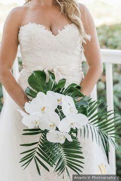 Joy & Diego Beach Spring Wedding in Miami, FL Hawaiian Wedding Themes, Tropical Wedding Bouquets, Palm Wedding, Beach Wedding Flowers, Wedding Flower Arrangements, Purple Wedding, Floral Wedding, Spring Wedding, Orchid Bouquet Wedding