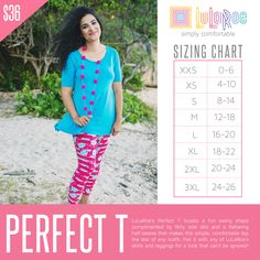 LuLaRoe's Perfect T boasts a fun swing shape complimented by flirty side slits and a flattering half-sleeve that makes this simple, comfortable top the star of any outfit. Pair it with any of LuLaRoe's skirts and leggings for a look that can't be ignored!