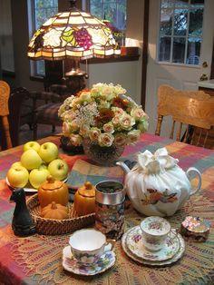 Bernideen's Tea Time Blog: RAINY DAY TEA (not in the garden) Afternoon tea in Autumn.