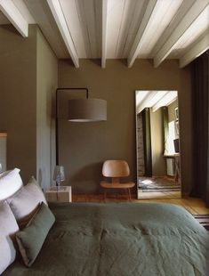 nice bedroom colour - like the white ceilings and frames that break the colour.