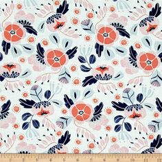 Dear Stella Trail Mix Camping Floral White from @fabricdotcom  Designed by Rae Ritchie for Dear Stella Designs, this cotton print is perfect for quilting, apparel and home decor accents. Colors include coral, pink, navy, grey and white.