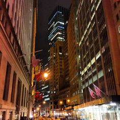 Wall Street after dark #NYC #Downtown